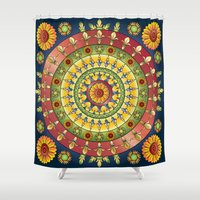 fleur de lis Shower Curtains featuring Fleur de Lis Mandala by Orison Crafts
