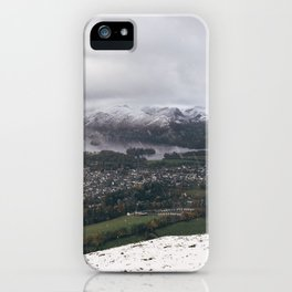 Views of Derwent Water and Keswick from Latrigg, covered in snow. Cumbria, UK. iPhone Case