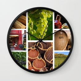 Wine and Vineyard Collage - Cafe or Kitchen Decor Wall Clock