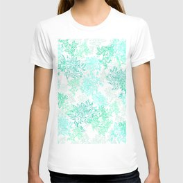 Turquoise and grey passionflower layered pattern T-shirt