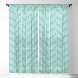 Herringbone geometric chevron teal pattern Sheer Curtain