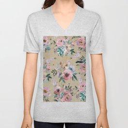 Pastel pink teal green watercolor pine wood floral Unisex V-Neck