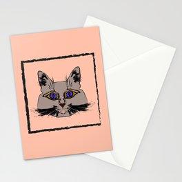Cute gray cat. Muzzle cartoon cat in a box. Stationery Cards