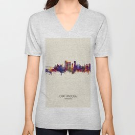 Chattanooga Tennessee Skyline Unisex V-Neck