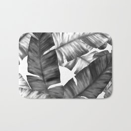 Black And White Tropical Banana Leaves Pattern Bath Mat