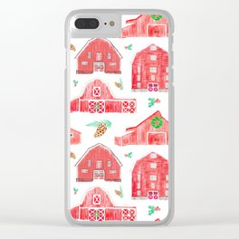 Watercolor Snowy Red Holiday Barns Clear iPhone Case