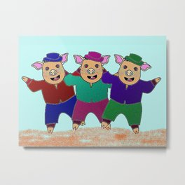 Three Little Pigs with Frekles Metal Print