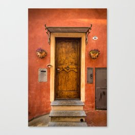 Wooden door of Tuscany with typical bright colors on its walls. Next to two small pots with flowers Canvas Print