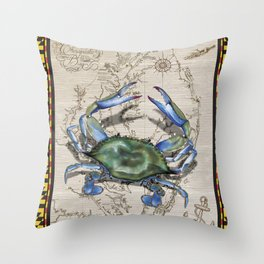 Chesapeake Bay Blue Crab Maryland Throw Pillow