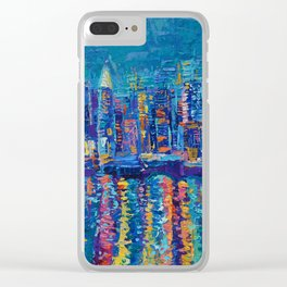 New York - The City That Never Sleeps; Palette Knife City Skyline by Adriana Dziuba Clear iPhone Case