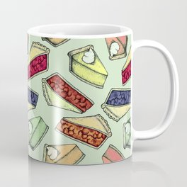 Easy As Pie - cute hand drawn illustrations of pie on sage green Coffee Mug
