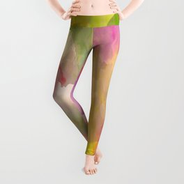 Rainbow Watercolor Floral Abstract Leggings