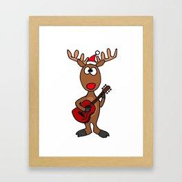 Funny Reindeer Playing Guitar Artwork Framed Art Print