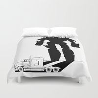optimus prime Duvet Covers featuring Optimus Prime by offbeatzombie