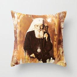 Patrijarh Pavle - Gojko Stojcevic - Watercolor Throw Pillow