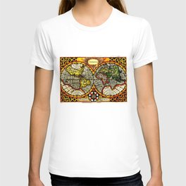 Vintage Map of The World (1596) - Stylized T-shirt