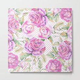 Watercolor hand painted pink lavender roses polka dots Metal Print