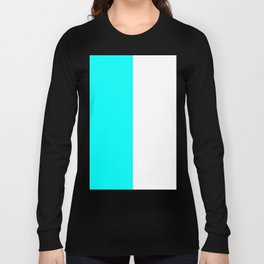 White and Aqua Cyan Vertical Halves Long Sleeve T-shirt