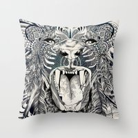 decal Throw Pillows featuring Lion by Feline Zegers