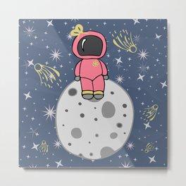 Girl Astronaut Sitting On The Moon Metal Print