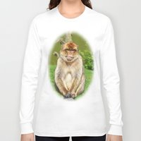 ape Long Sleeve T-shirts featuring Barbary ape by Pirmin Nohr