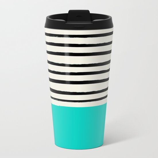 Aqua & Stripes Metal Travel Mug