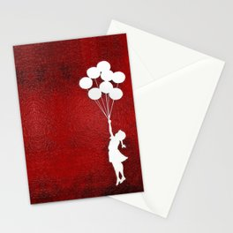 Banksy the balloons Girls silhouette Stationery Cards