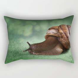 Garden snail on a green leaf Rectangular Pillow