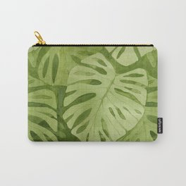 Watercolor Monstera Leaves Carry-All Pouch