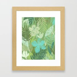 Tropical Flowers and Leaves (bright) Framed Art Print