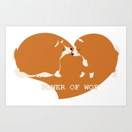 Corgi dogs are kissing Art Print