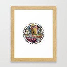 Times Square New York City (badge emblem on white) Framed Art Print