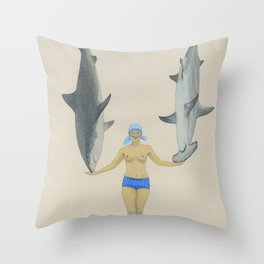 The Shark Charmer Throw Pillow