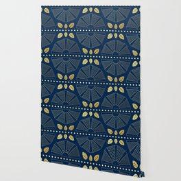 Navy & Gold Art Deco Fans Wallpaper