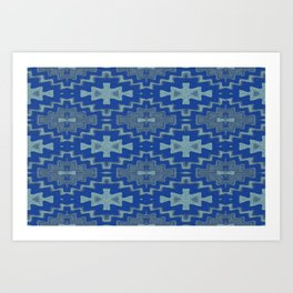 Blue Aztec Rhythmic Pattern Art Print