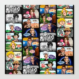 Faces of Who (Black) Canvas Print