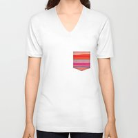 stripes V-neck T-shirts featuring stripes by spinL