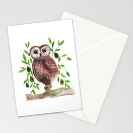 Owl with avocado illustration Stationery Cards