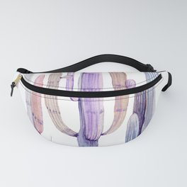 Minimalist Cactus Drawing Watercolor Painting Purple Fanny Pack