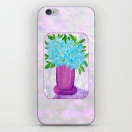 Magenta Vase with Aqua Flowers iPhone Skin