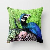 peacock Throw Pillows featuring Peacock by BeachStudio