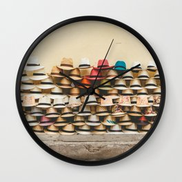 Panama Hats in Cartagena, Colombia 2 Wall Clock
