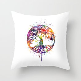 Tree of Life Colorful Watercolor Art Throw Pillow