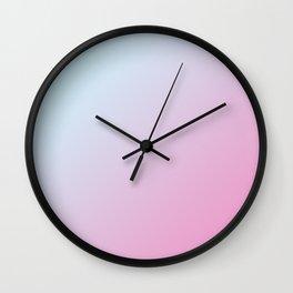 Pastel Light Pale Cyan Blue and Soft Light Pink Gradient Ombré  Wall Clock