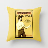 parks and recreation Throw Pillows featuring Ron Swanson  |  Steak House Parody |  Parks and Recreation by Silvio Ledbetter