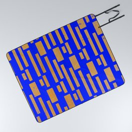 Abstract Bamboo Blue Gold Mid-Century Picnic Blanket