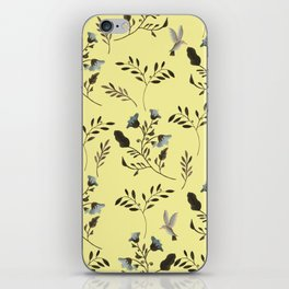 Butter Yellow and Bluebells and Bluebirds Floral Pattern Flowers in Blue and Bark Brown iPhone Skin