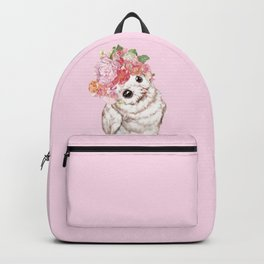 Snowy Owl with Flowers Crown Backpack
