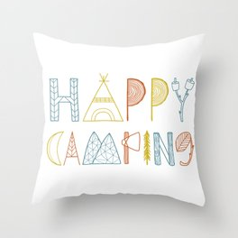 Happy Camping Fall Throw Pillow