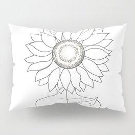 Minimalistic Line Art of Woman with Sunflower Pillow Sham